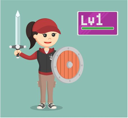 addictive: level 1 female rpg gamer holding sword and shield