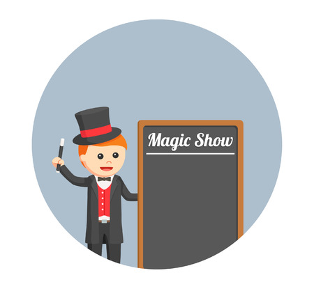 magus: magician with black board