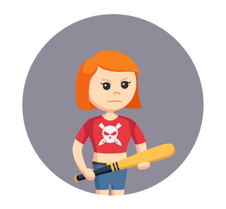 야구 방망이를 가진 소녀