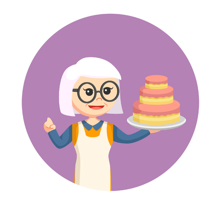 old woman with big cake