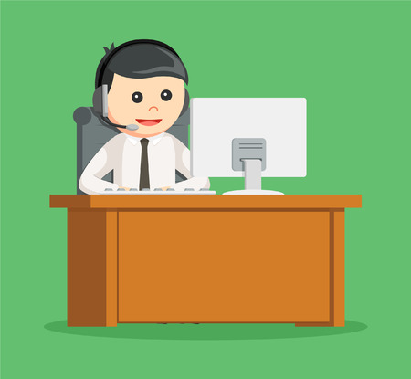 desk work: call center man with his work desk