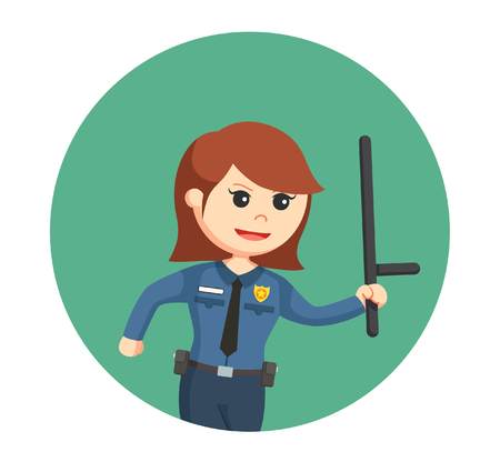 police woman running and holding baton stick Illustration