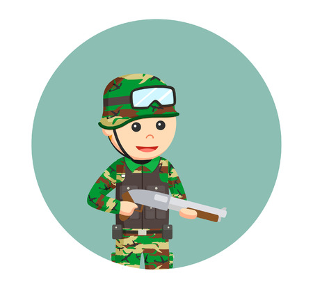 army man with shotgun in circle background Illustration