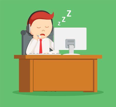 dozing: call center man sleeping during work