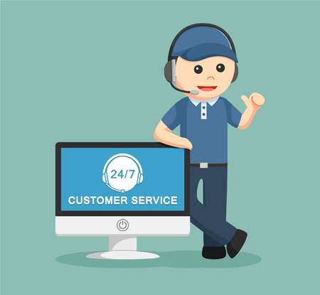 customer service: Delivery man. Customer service. Illustration