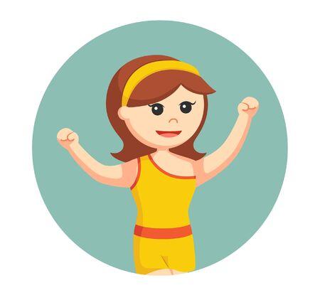 dancing club girl in yellow dress in circle background