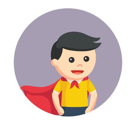 little super hero boy in circle background Illustration