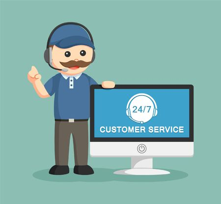 service man: fat delivery man with pc customer service
