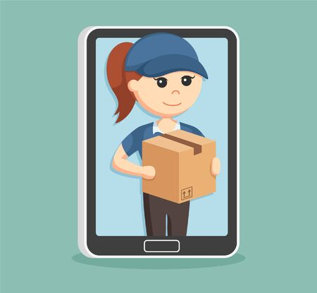 woman tablet: delivery woman in tablet