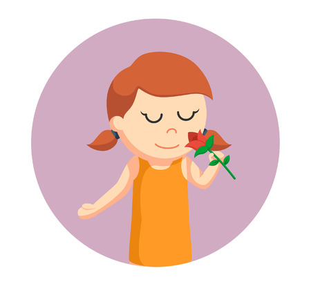 little girl smelling rose flower in circle background