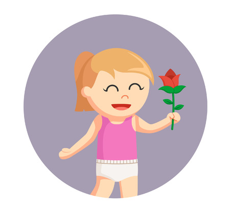 plant stand: baby girl with rose flower in circle background