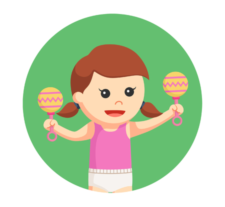 baby toys: baby girl with toys in circle background