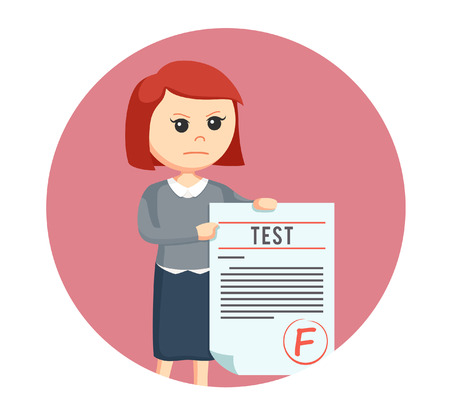 exam: woman teacher with f grade test in circle background