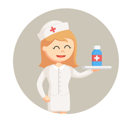 intensive care: Nurse with medicine in circle background