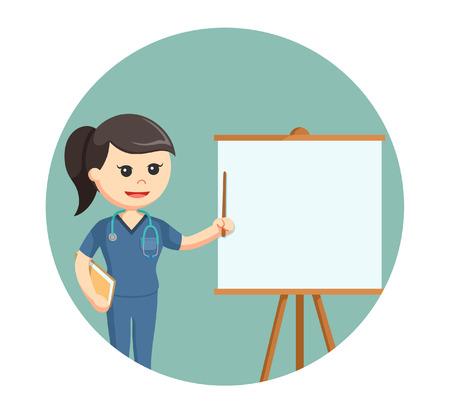 surgeon nurse giving presentation in circle background