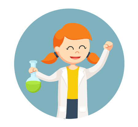 woman scientist holding test tubes in circle background