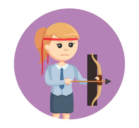 office warrior with bow in circle background Illustration