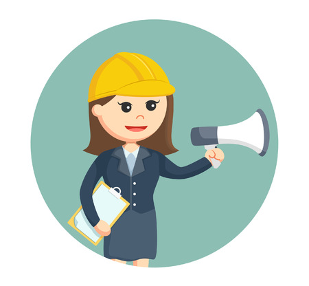 labourer: woman architect with megaphone in circle background