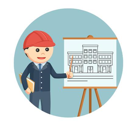 architect giving presentation in circle background Illustration