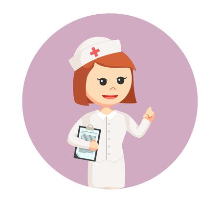 Enfermera con portapapeles en lavanda fondo redondo.