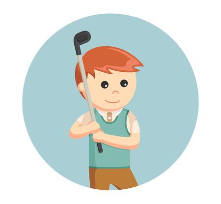 golfer man prepare to hitting ball in circle background Illustration