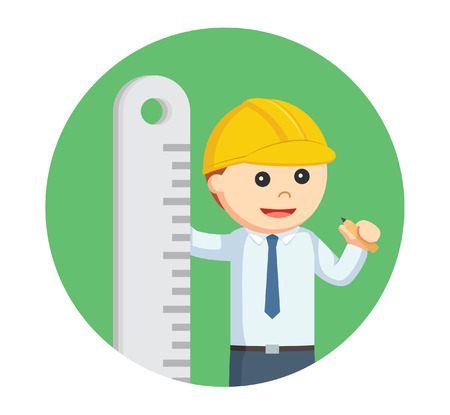 architect with big ruler in circle background Illustration
