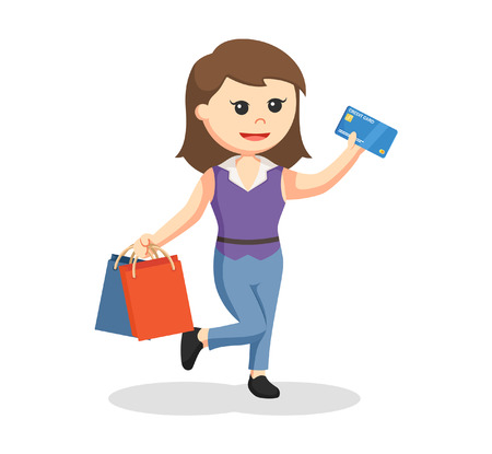 chicas comprando: Girl with two shopping bags and credit card