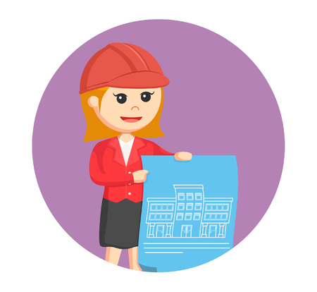 woman architect with blue print in circle background Illustration