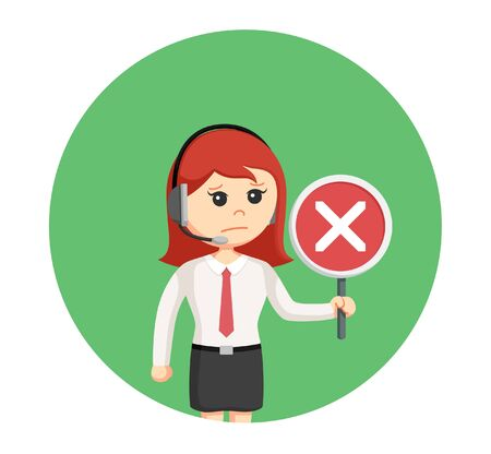 disagree: Call center woman with crosswise sign in circle background Illustration