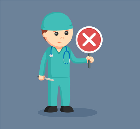 sad men: Male surgeon with crosswise sign indicates fail surgery