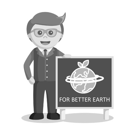 environmental suit: black and white businessman and earth poster