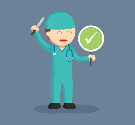 male surgeon with checklist sign indicates success surgery