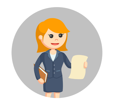 Female lawyer with legal documents in circle background