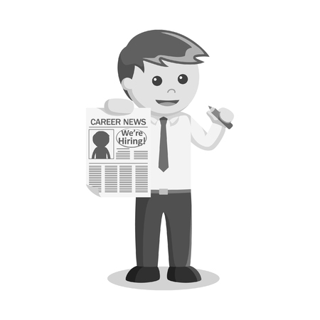 classified: Black and white businessman accepted career news Illustration