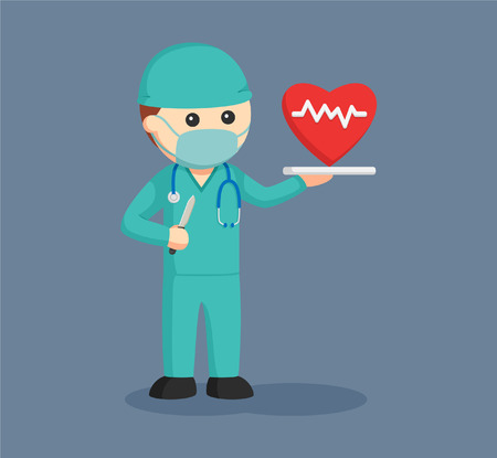 heart doctor: male surgeon with cardiac surgery concept