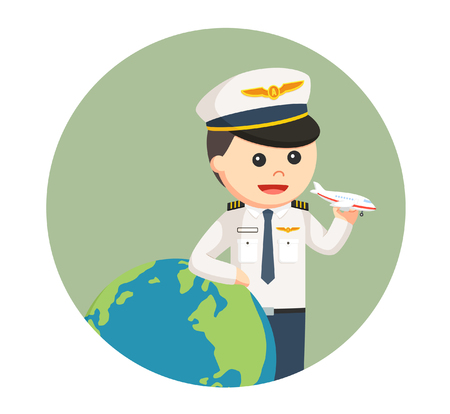 pilot with big globe and plane toy in circle background
