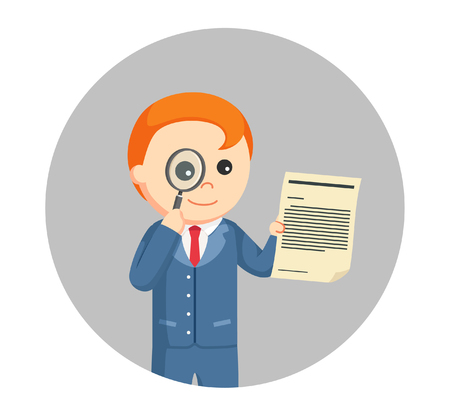 Male lawyer looking legal document with magnifying glass in circle background.