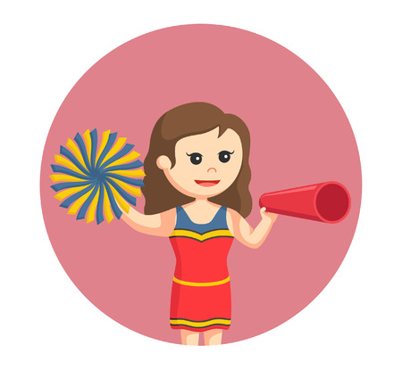 sorority: Cheer leader with megaphone in circle background. Illustration