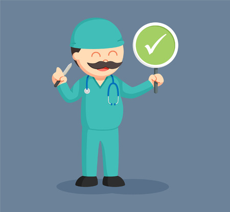 Fat surgeon with checklist sign indicates successful surgery Illustration