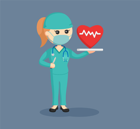 Female surgeon with cardiac surgery concept Vettoriali