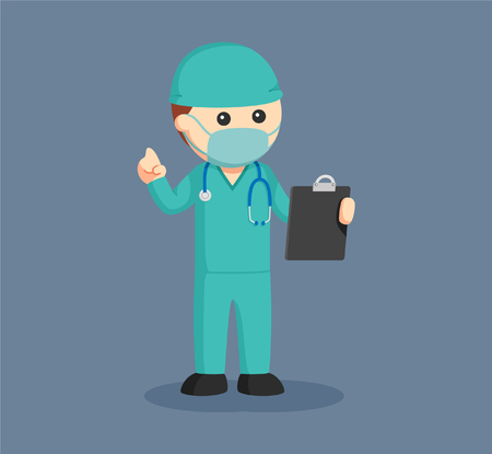 Male surgeon with clipboard