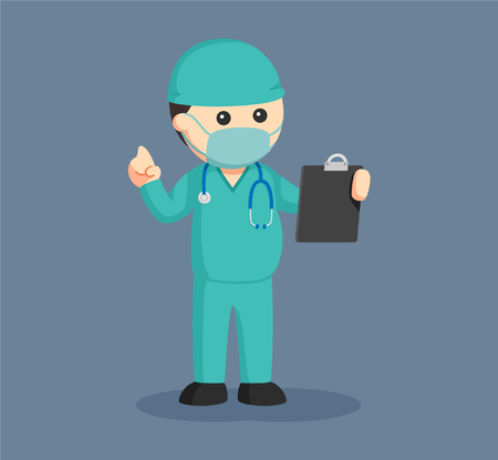 fat surgeon with clipboard Illustration