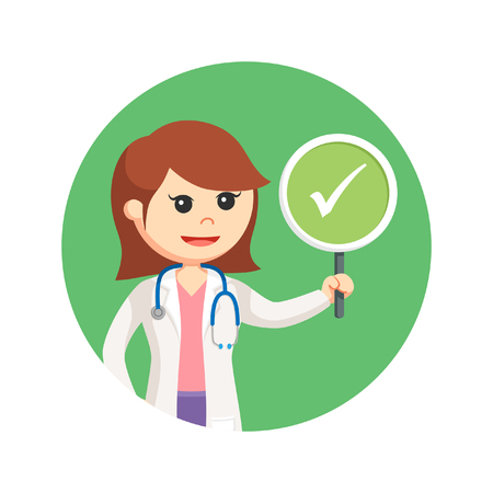 female doctor holding true sign in circle background Illustration