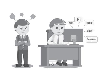 ソーシャル メディアの起業家が作業時間の黒と白の色のスタイルで開くとき怒っている上司。