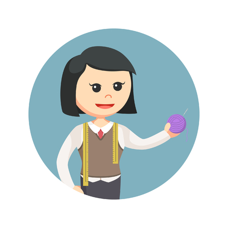 female tailor holding yarn in circle background Illustration