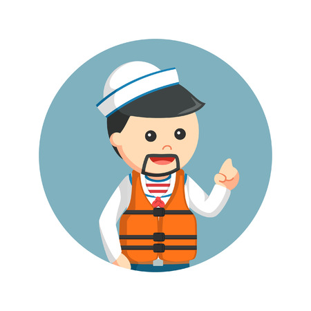 sailor wearing life jacket in circle background Illustration