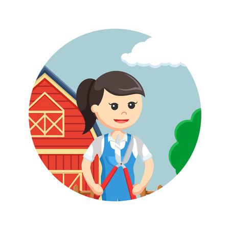 scissors: Farmer woman holding pruning scissors in circle background Illustration