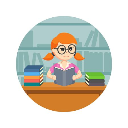 student book: female student reading a book in circle background