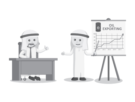 provide: arab businessman provide information about the increased export oil black and white color style Illustration