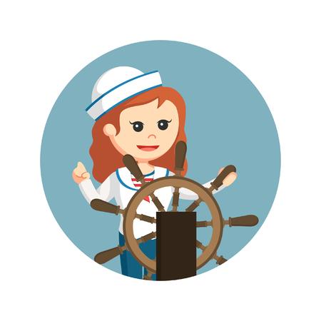 marinero femenino con el volante de la nave en el fondo del círculo